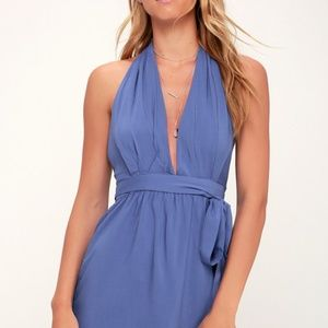 Lulus Positively Perfect Periwinkle Wrap Dress Sm